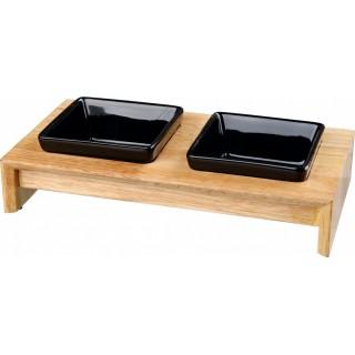 Gamelles Duo bois et céramique - 2 contenances