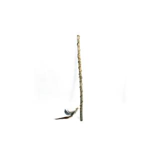 Canne pour chat Jerry avec plume en bas, bois sans écorce, par AnimalinBoutique