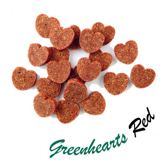 Friandises naturelles végétariennes (Cœurs verts ou rouges/150g et 1 kilo)