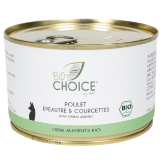 Aliment humide 100 % Bio au poulet et légumes - 2 variétés - Bio Choice